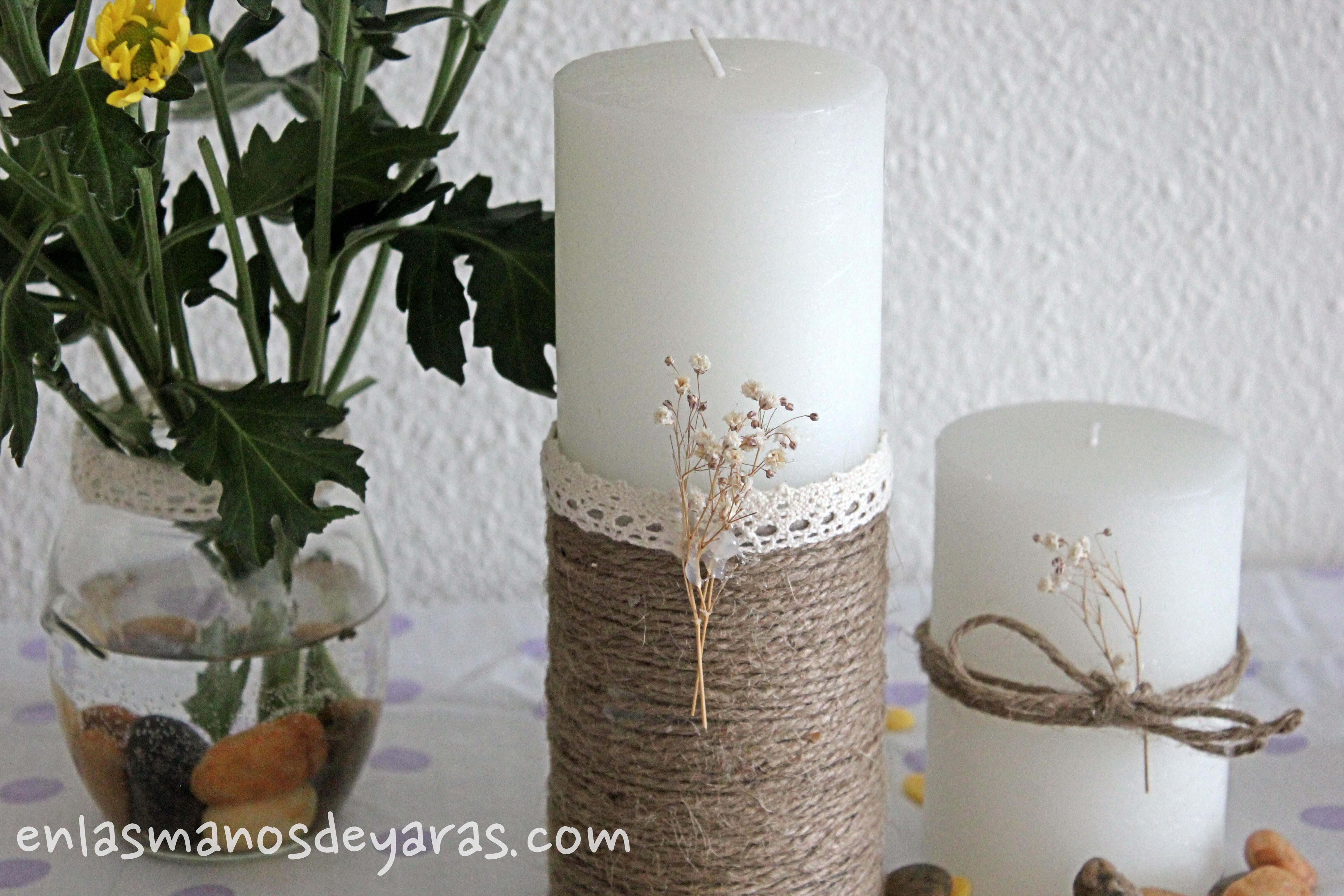 DIY Decorar una vela con cuerdas